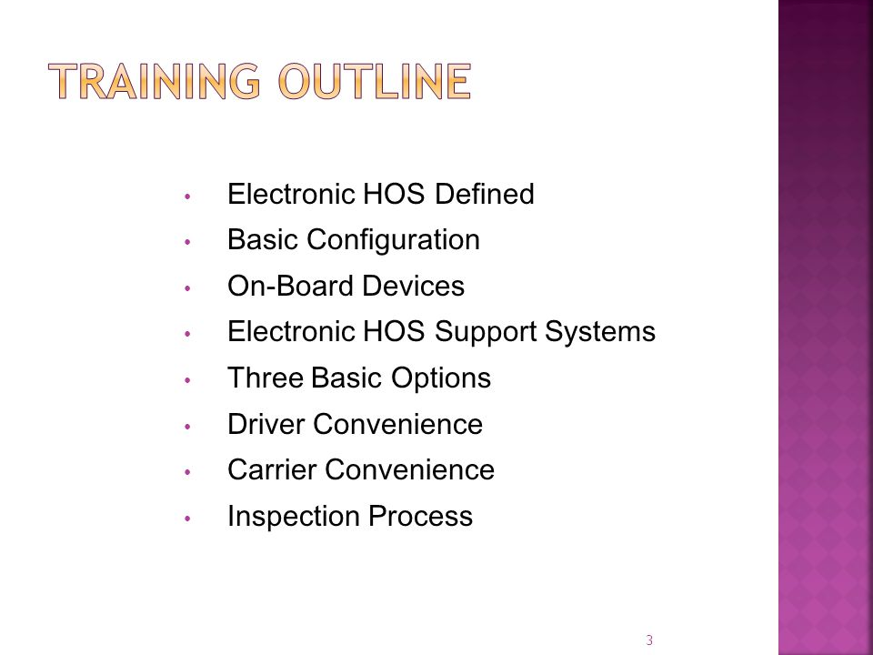 Electronic HOS Defined Basic Configuration On-Board Devices Electronic HOS Support Systems Three Basic Options Driver Convenience Carrier Convenience Inspection Process 3