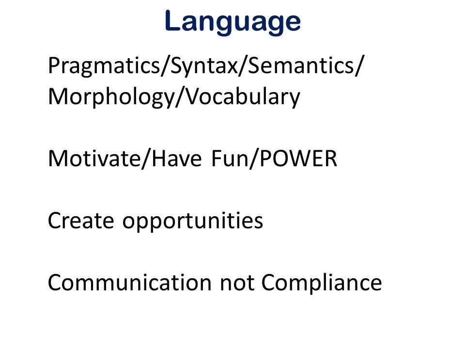 Language Pragmatics/Syntax/Semantics/ Morphology/Vocabulary Motivate/Have Fun/POWER Create opportunities Communication not Compliance