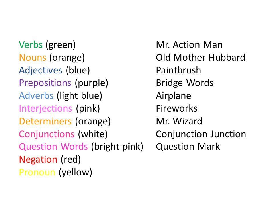 Verbs (green) Mr.