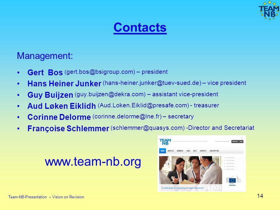 14 Contacts Management: Gert Bos (gert.bos@bsigroup.com) – president Hans Heiner Junker (hans-heiner.junker@tuev-sued.de) – vice president Guy Buijzen (guy.buijzen@dekra.com) – assistant vice-president Aud Løken Eiklidh (Aud.Loken.Eiklid@presafe.com) - treasurer Corinne Delorme (corinne.delorme@lne.fr) – secretary Françoise Schlemmer (schlemmer@quasys.com) -Director and Secretariat www.team-nb.org Team-NB-Presentation – Vision on Revision