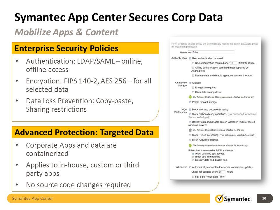 Symantec App Center Secures Corp Data Symantec App Center 10 Mobilize Apps & Content Enterprise Security Policies Authentication: LDAP/SAML – online,