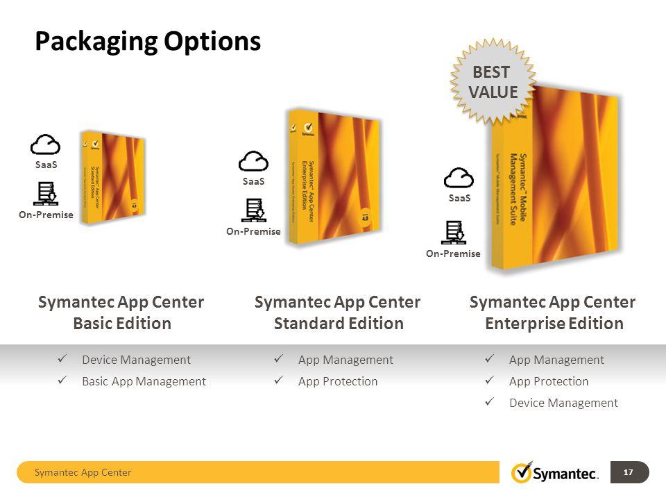 Packaging Options Symantec App Center 17 Symantec App Center Basic Edition Symantec App Center Standard Edition Symantec App Center Enterprise Edition