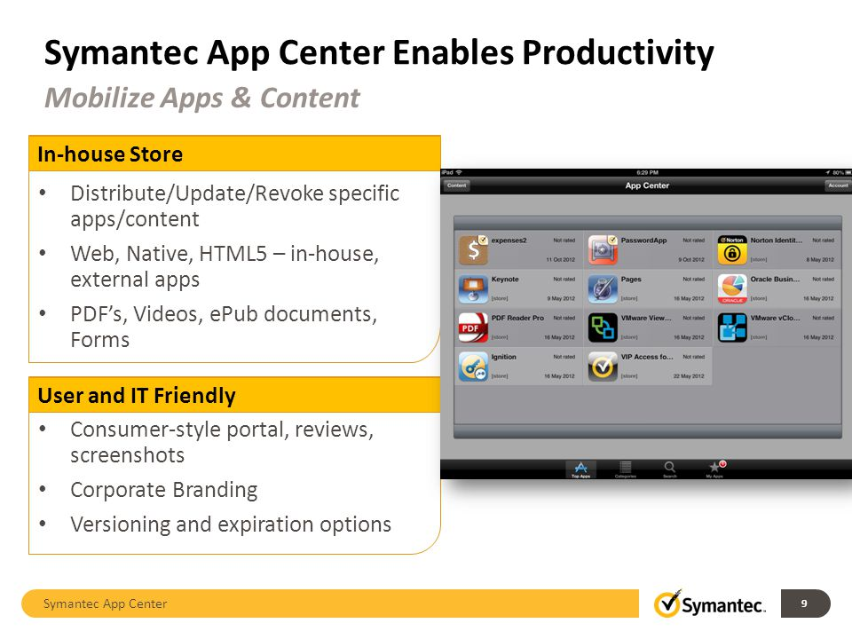 Symantec App Center Enables Productivity Symantec App Center 9 Mobilize Apps & Content In-house Store Distribute/Update/Revoke specific apps/content Web, Native, HTML5 – in-house, external apps PDFs, Videos, ePub documents, Forms User and IT Friendly Consumer-style portal, reviews, screenshots Corporate Branding Versioning and expiration options