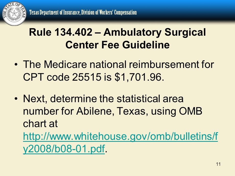 11 Rule 134.402 – Ambulatory Surgical Center Fee Guideline The Medicare national reimbursement for CPT code 25515 is $1,701.96.
