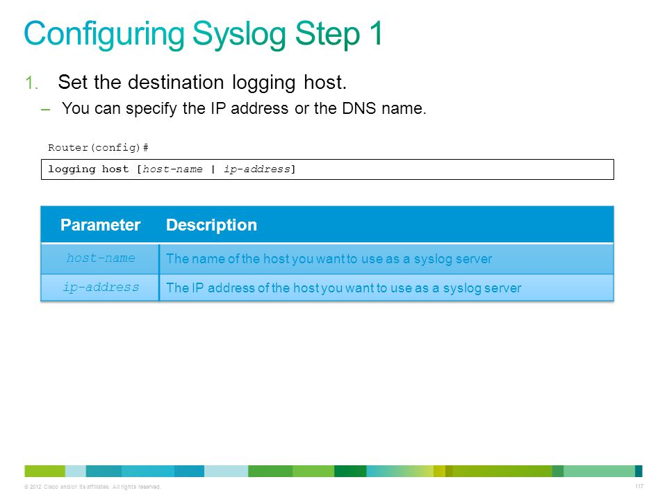 © 2012 Cisco and/or its affiliates. All rights reserved. 117 1. Set the destination logging host. –You can specify the IP address or the DNS name. Rou