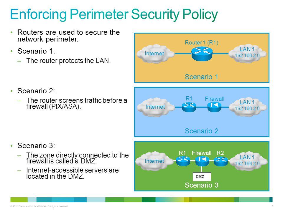 © 2012 Cisco and/or its affiliates. All rights reserved. 3 Scenario 3 Scenario 2 Routers are used to secure the network perimeter. Scenario 1: –The ro