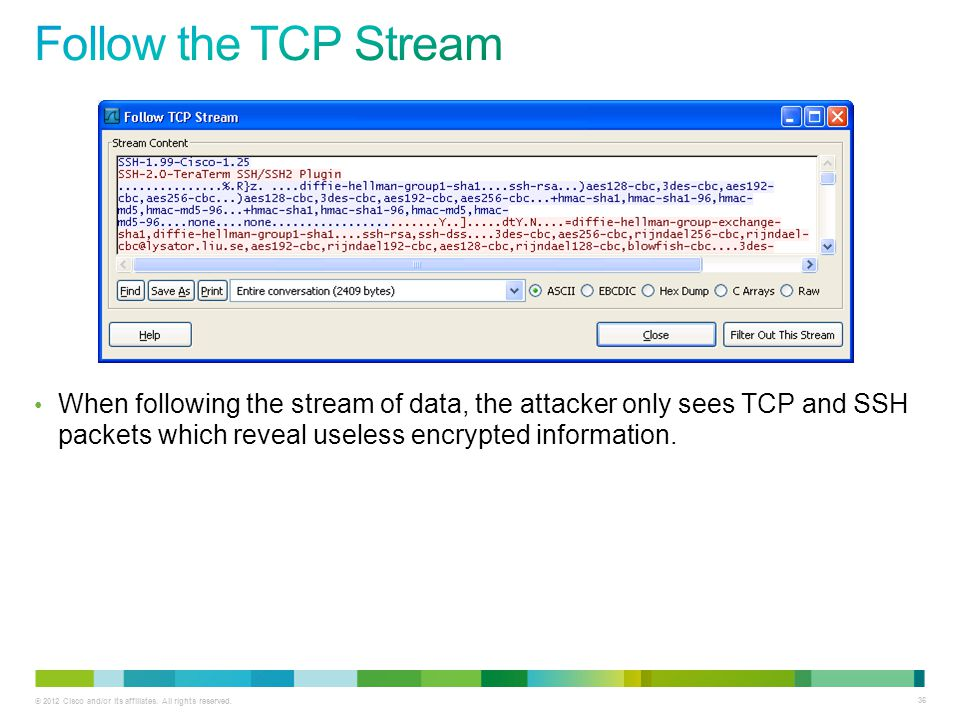 © 2012 Cisco and/or its affiliates. All rights reserved. 36 When following the stream of data, the attacker only sees TCP and SSH packets which reveal