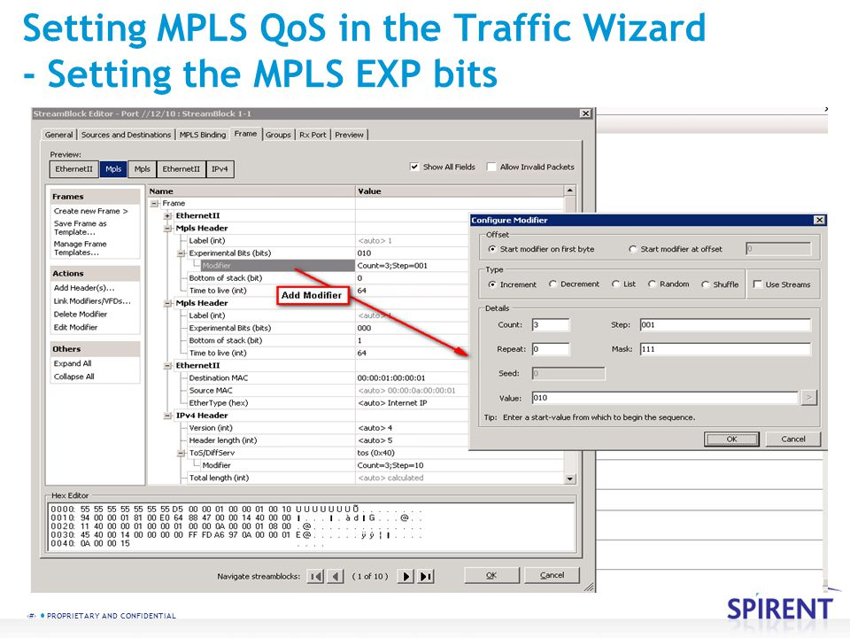 14 PROPRIETARY AND CONFIDENTIAL Setting MPLS QoS in the Traffic Wizard - Setting the MPLS EXP bits