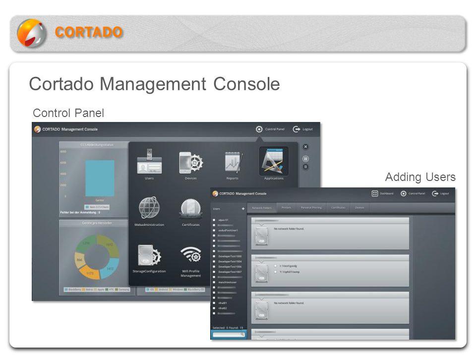 Cortado Management Console Control Panel Adding Users