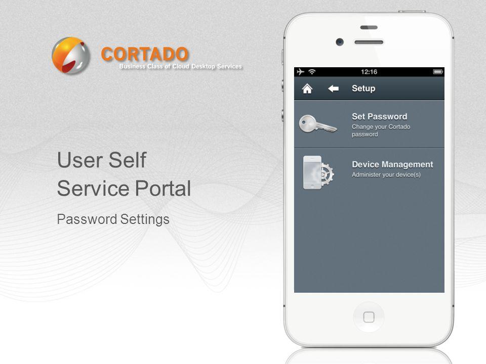 User Self Service Portal Password Settings