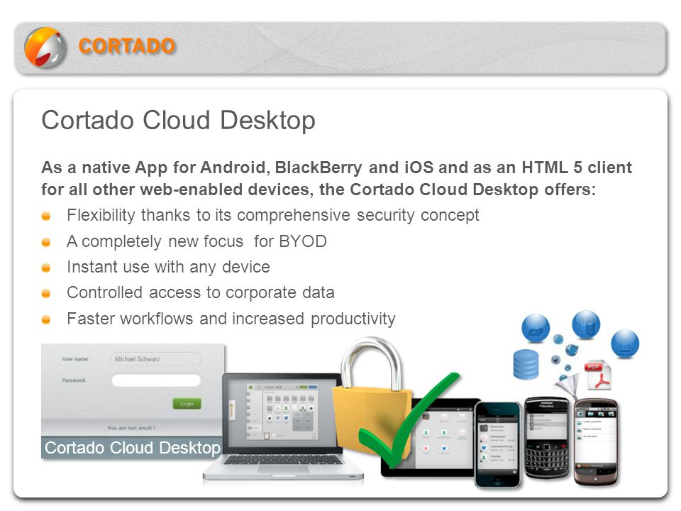 Cortado Cloud Desktop As a native App for Android, BlackBerry and iOS and as an HTML 5 client for all other web-enabled devices, the Cortado Cloud Des
