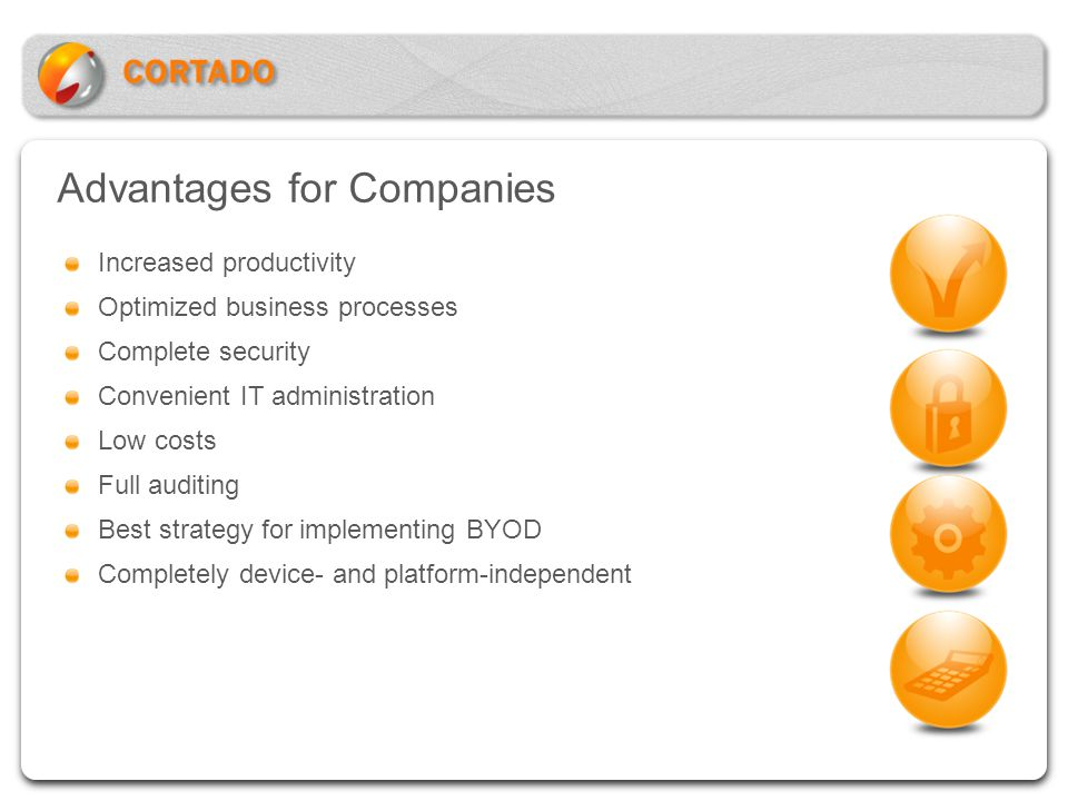 Advantages for Companies Increased productivity Optimized business processes Complete security Convenient IT administration Low costs Full auditing Be