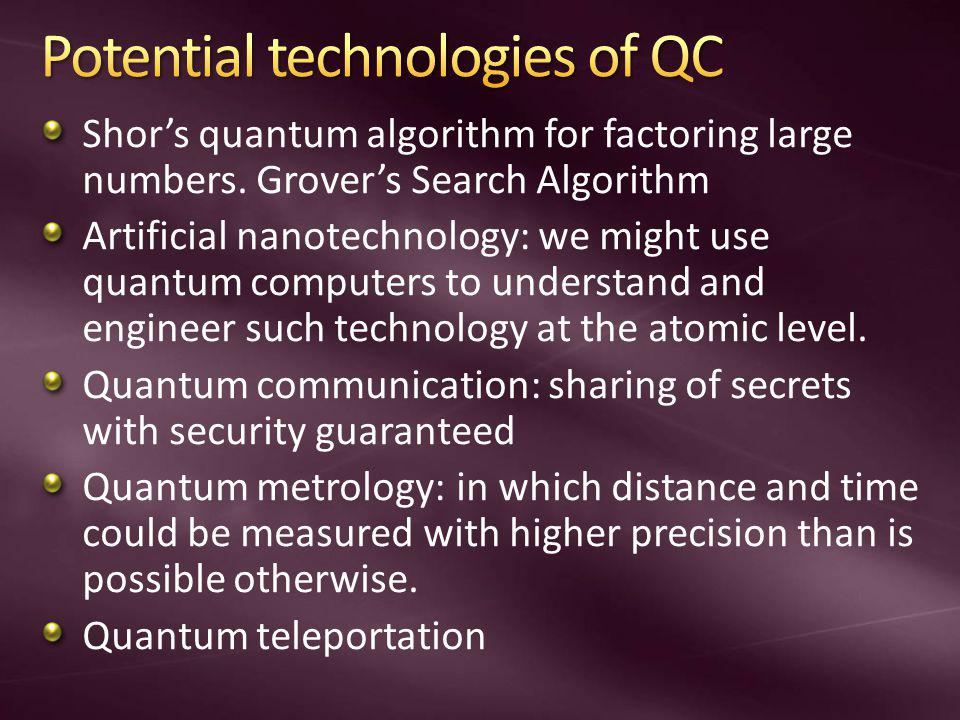 Shors quantum algorithm for factoring large numbers. Grovers Search Algorithm Artificial nanotechnology: we might use quantum computers to understand
