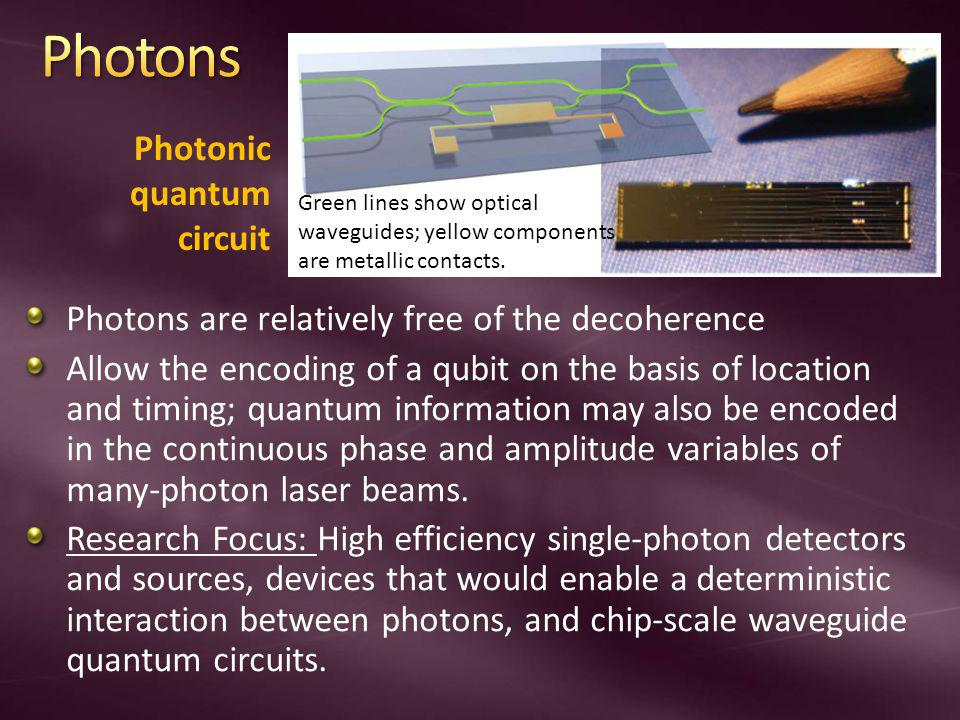 Photons are relatively free of the decoherence Allow the encoding of a qubit on the basis of location and timing; quantum information may also be encoded in the continuous phase and amplitude variables of many-photon laser beams.