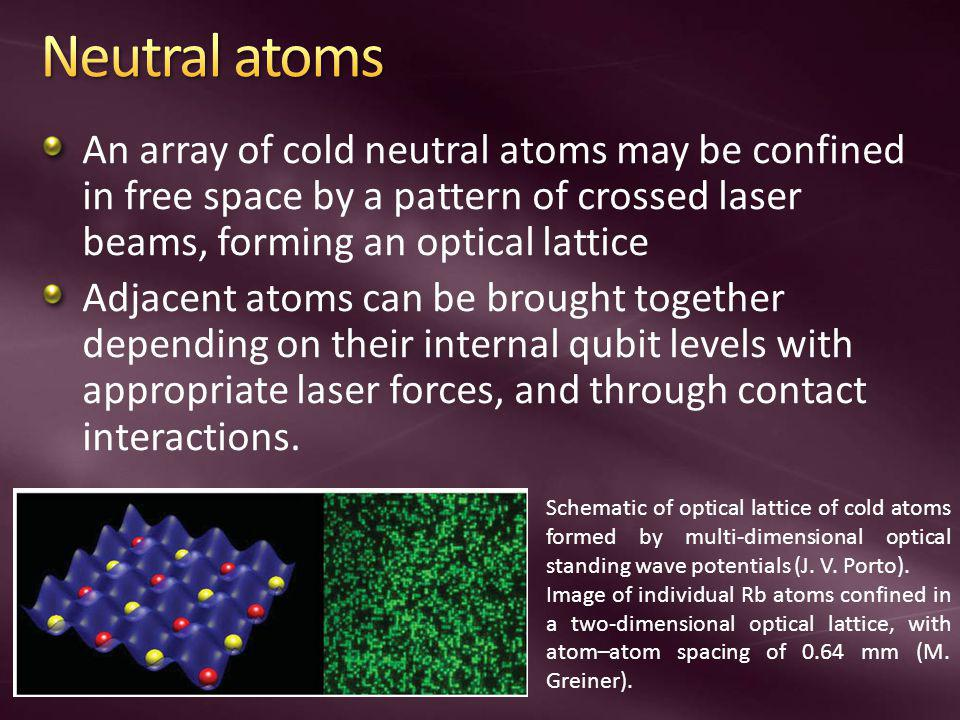 An array of cold neutral atoms may be confined in free space by a pattern of crossed laser beams, forming an optical lattice Adjacent atoms can be brought together depending on their internal qubit levels with appropriate laser forces, and through contact interactions.