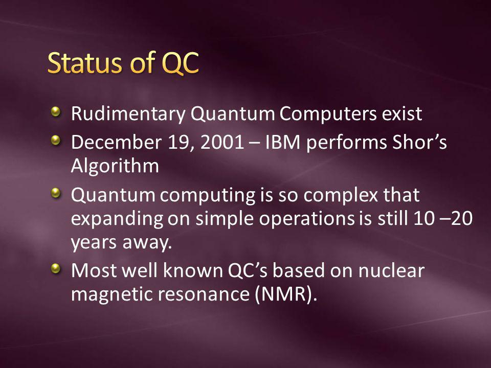 Rudimentary Quantum Computers exist December 19, 2001 – IBM performs Shors Algorithm Quantum computing is so complex that expanding on simple operatio