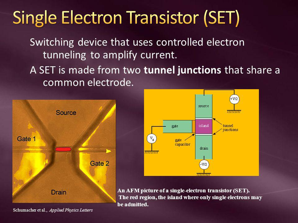 Switching device that uses controlled electron tunneling to amplify current.