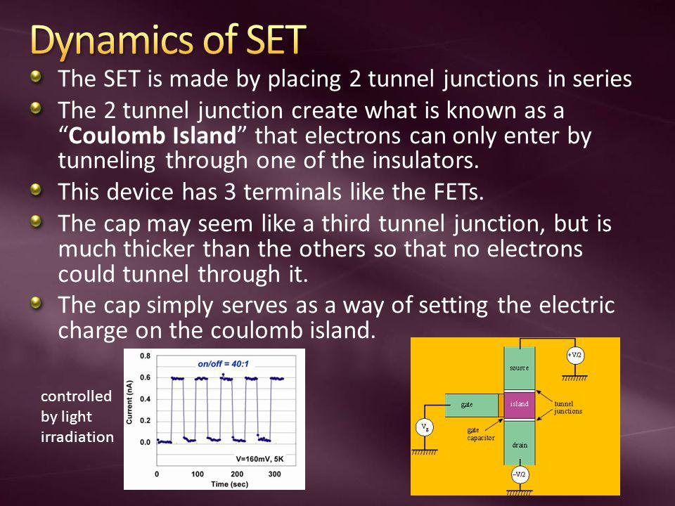 The SET is made by placing 2 tunnel junctions in series The 2 tunnel junction create what is known as aCoulomb Island that electrons can only enter by tunneling through one of the insulators.