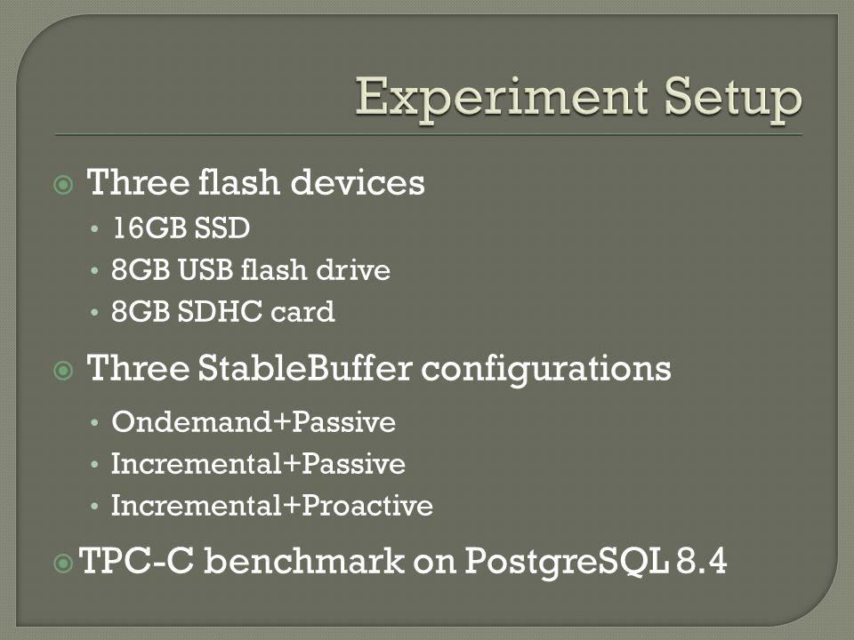 Three flash devices 16GB SSD 8GB USB flash drive 8GB SDHC card Three StableBuffer configurations Ondemand+Passive Incremental+Passive Incremental+Proactive TPC-C benchmark on PostgreSQL 8.4