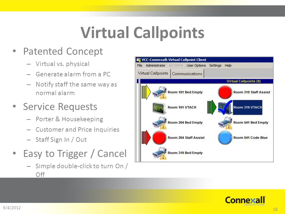 18 9/4/2012 Virtual Callpoints Patented Concept – Virtual vs.