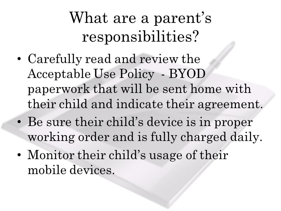 What are a parents responsibilities.