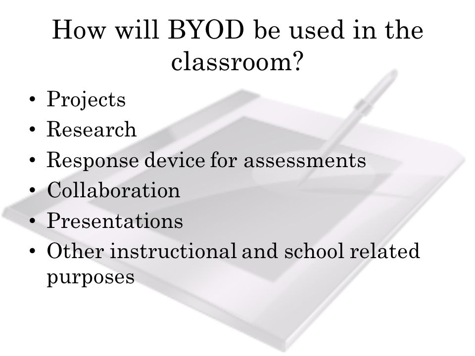 How will BYOD be used in the classroom.