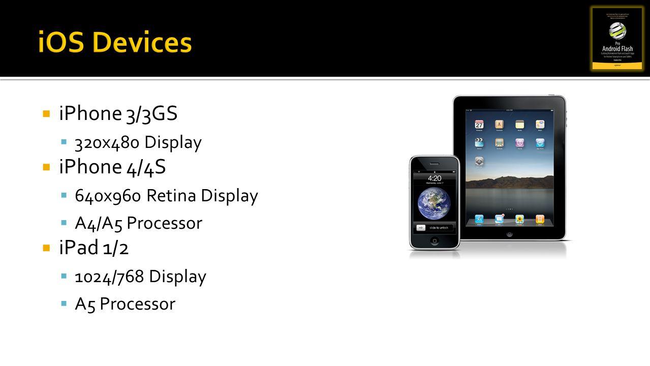 iPhone 3/3GS 320x480 Display iPhone 4/4S 640x960 Retina Display A4/A5 Processor iPad 1/2 1024/768 Display A5 Processor