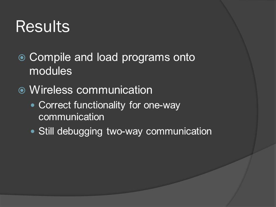 Results Compile and load programs onto modules Wireless communication Correct functionality for one-way communication Still debugging two-way communication