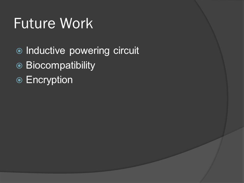 Future Work Inductive powering circuit Biocompatibility Encryption