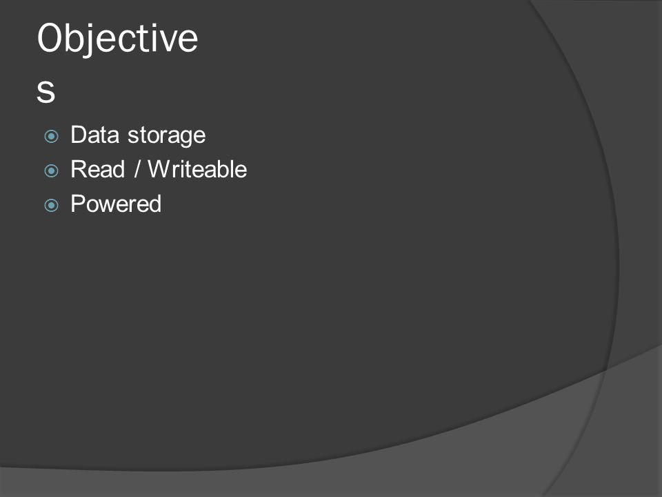 Objective s Data storage Read / Writeable Powered