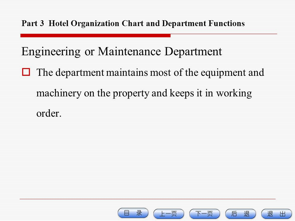 Part 3 Hotel Organization Chart and Department Functions Engineering or Maintenance Department The department maintains most of the equipment and mach