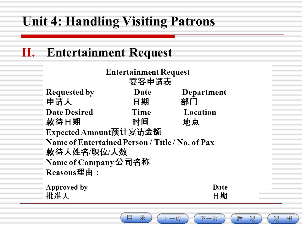 Unit 4: Handling Visiting Patrons II.Entertainment Request Entertainment Request Requested by Date Department Date Desired Time Location Expected Amou