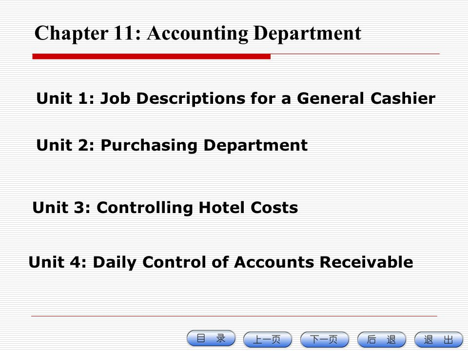 Chapter 11: Accounting Department Unit 1: Job Descriptions for a General Cashier Unit 2: Purchasing Department Unit 3: Controlling Hotel Costs Unit 4: