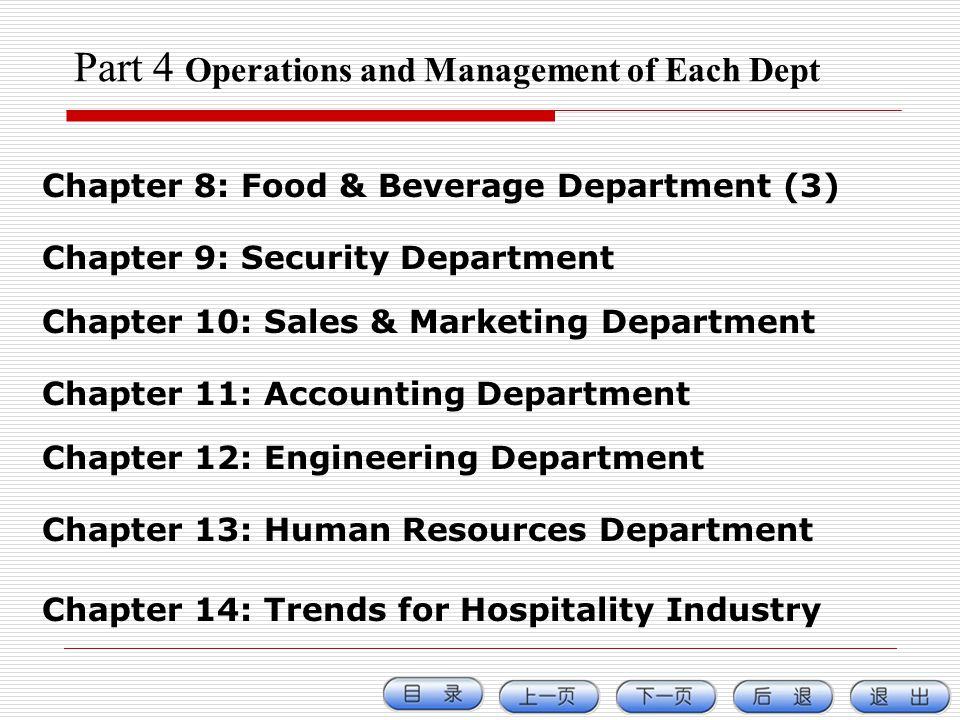 Part 4 Operations and Management of Each Dept Chapter 8: Food & Beverage Department (3) Chapter 9: Security Department Chapter 10: Sales & Marketing D