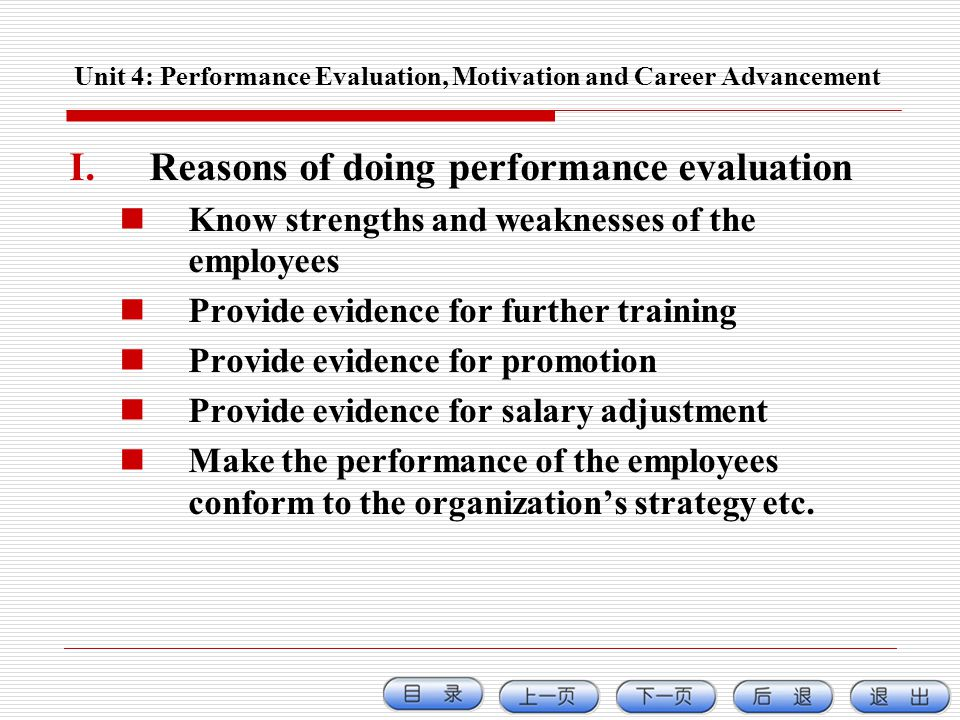 Unit 4: Performance Evaluation, Motivation and Career Advancement I.Reasons of doing performance evaluation Know strengths and weaknesses of the emplo