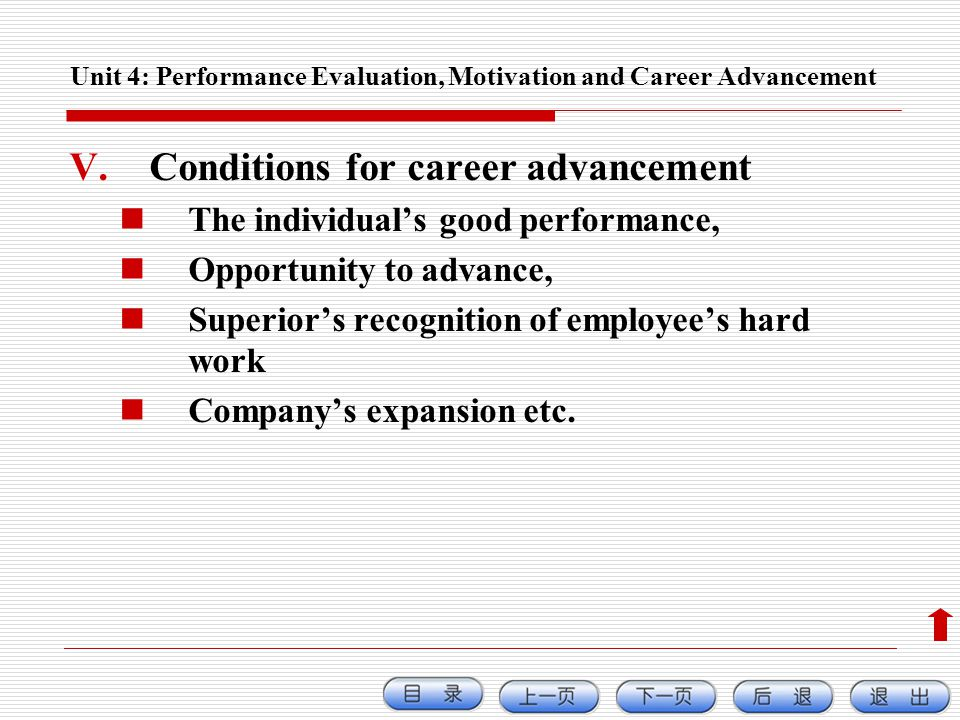 Unit 4: Performance Evaluation, Motivation and Career Advancement V.Conditions for career advancement The individuals good performance, Opportunity to