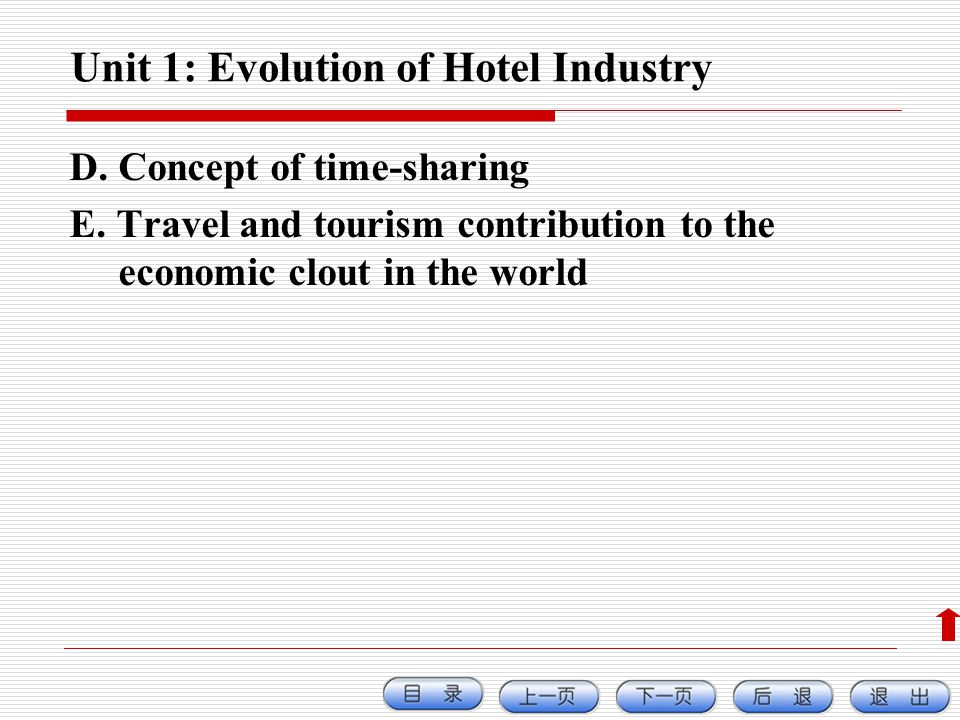 Unit 1: Evolution of Hotel Industry D. Concept of time-sharing E. Travel and tourism contribution to the economic clout in the world