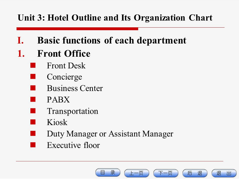 Unit 3: Hotel Outline and Its Organization Chart I.Basic functions of each department 1.Front Office Front Desk Concierge Business Center PABX Transpo