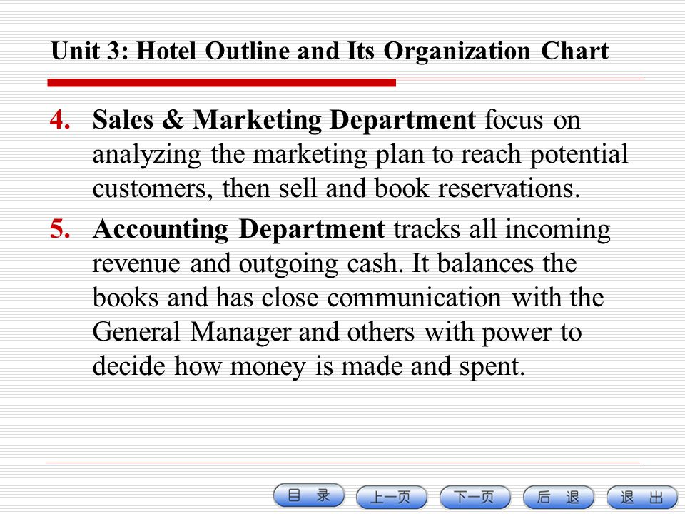 Unit 3: Hotel Outline and Its Organization Chart 4.Sales & Marketing Department focus on analyzing the marketing plan to reach potential customers, th