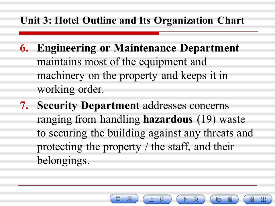 Unit 3: Hotel Outline and Its Organization Chart 6.Engineering or Maintenance Department maintains most of the equipment and machinery on the property