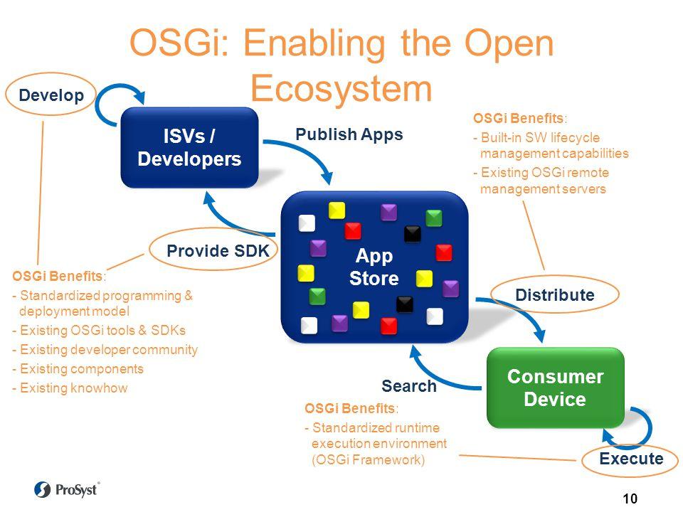 OSGi: Enabling the Open Ecosystem Consumer Device App Store ISVs / Developers Publish Apps Distribute Search Provide SDK Develop Execute OSGi Benefits: - Standardized programming & deployment model - Existing OSGi tools & SDKs - Existing developer community - Existing components - Existing knowhow OSGi Benefits: - Built-in SW lifecycle management capabilities - Existing OSGi remote management servers OSGi Benefits: - Standardized runtime execution environment (OSGi Framework) 10