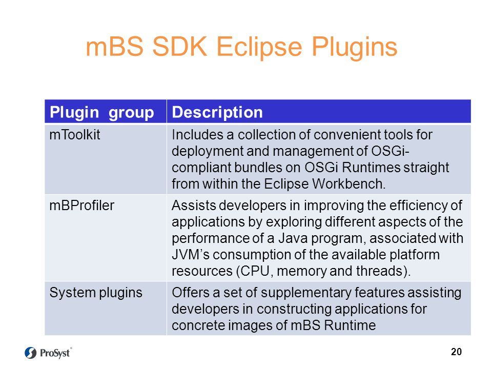 mBS SDK Eclipse Plugins Plugin groupDescription mToolkitIncludes a collection of convenient tools for deployment and management of OSGi- compliant bun