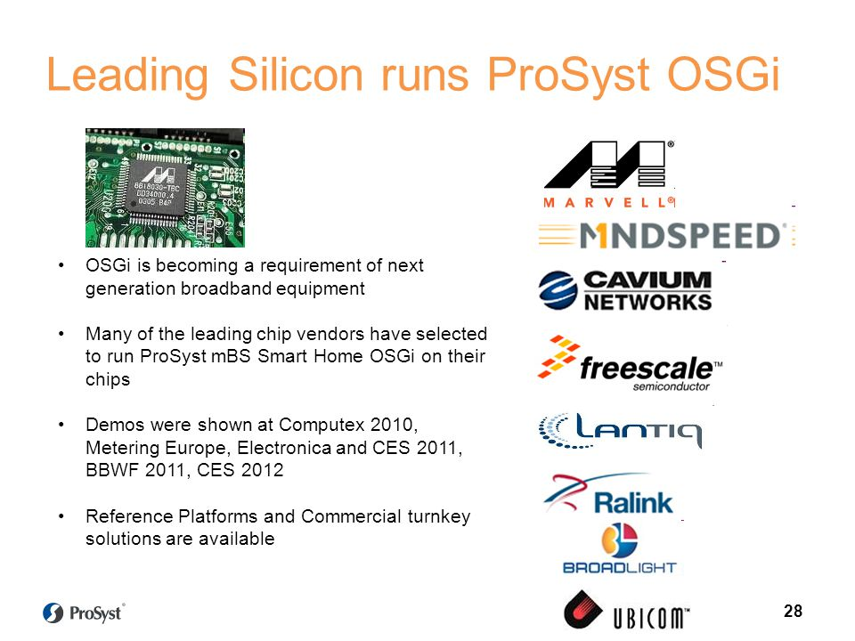 OSGi is becoming a requirement of next generation broadband equipment Many of the leading chip vendors have selected to run ProSyst mBS Smart Home OSGi on their chips Demos were shown at Computex 2010, Metering Europe, Electronica and CES 2011, BBWF 2011, CES 2012 Reference Platforms and Commercial turnkey solutions are available Leading Silicon runs ProSyst OSGi 28