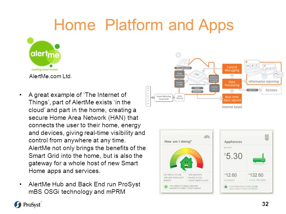 A great example of The Internet of Things, part of AlertMe exists in the cloud and part in the home, creating a secure Home Area Network (HAN) that connects the user to their home, energy and devices, giving real-time visibility and control from anywhere at any time.