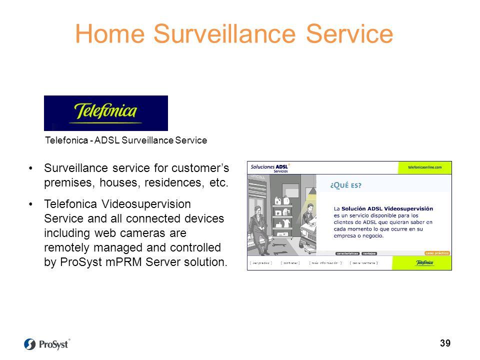Automatization network Surveillance service for customers premises, houses, residences, etc.