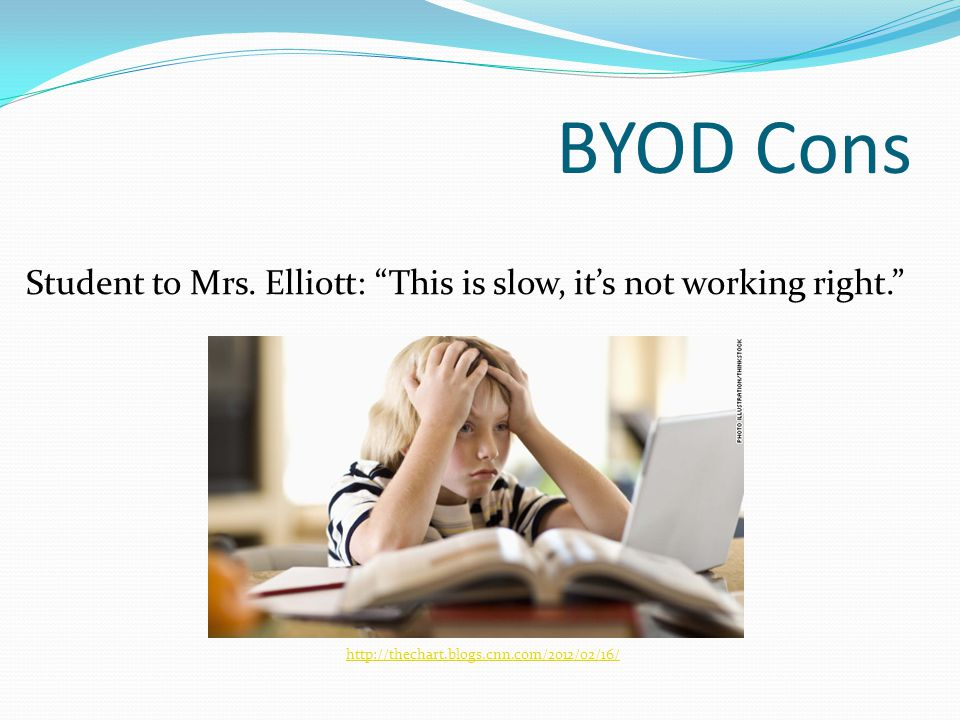BYOD Cons Student to Mrs. Elliott: This is slow, its not working right.