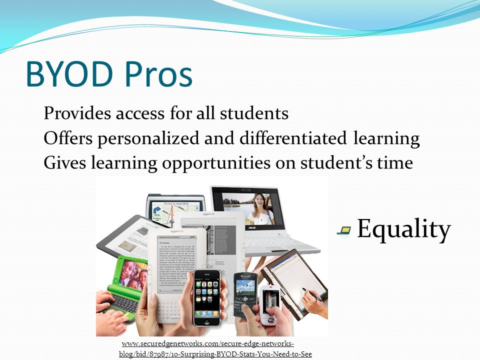 BYOD Pros Provides access for all students Offers personalized and differentiated learning Gives learning opportunities on students time Equality www.securedgenetworks.com/secure-edge-networks- blog/bid/87987/10-Surprising-BYOD-Stats-You-Need-to-See