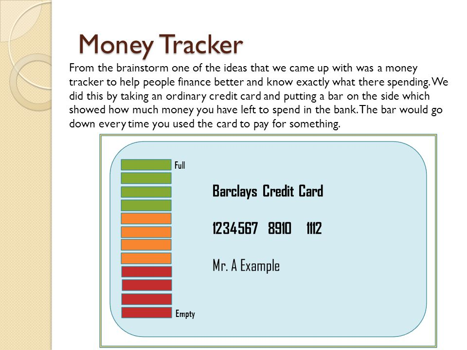 Money Tracker Full Empty Barclays Credit Card 1234567 8910 1112 Mr. A Example From the brainstorm one of the ideas that we came up with was a money tr