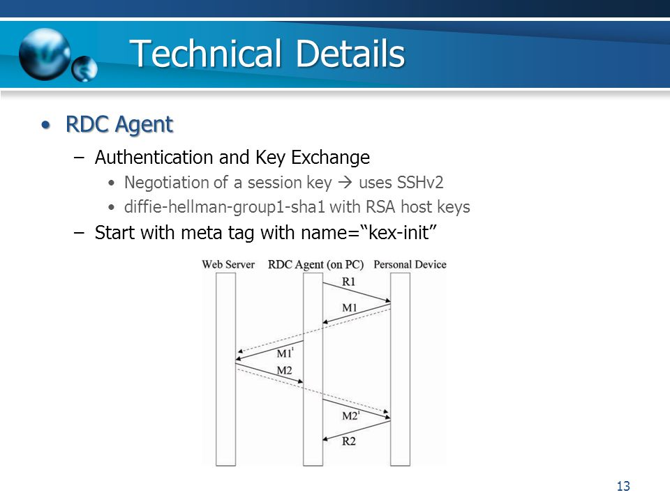 Technical Details RDC AgentRDC Agent –Authentication and Key Exchange Negotiation of a session key uses SSHv2 diffie-hellman-group1-sha1 with RSA host