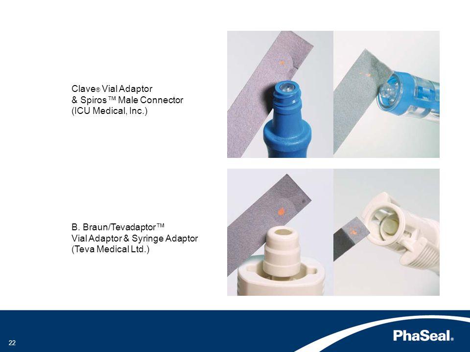 Clave ® Vial Adaptor & Spiros Male Connector (ICU Medical, Inc.) B.